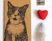 Cat Notebook Hand Printed Moleskine Notebook