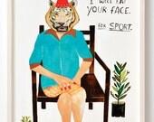 Print, Digital, Animal art, Humor art, Unique gift, Funny wall decor, Illustration, Tiger, Drawing, Nice Tiger- Art Print on Paper