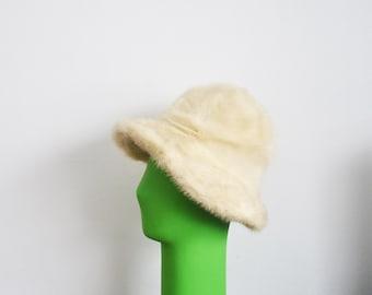 Off white mink hat -fur  hat with brim -vintage winter hat