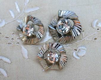 Three Vintage Rhinestone Buttons ... Silver cut metal, scalloped design