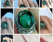 Reserved Refresh eco silver ring with 7 ct emerald faceted cabochon from Brazil size  8