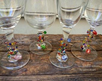one of a kind glass beaded wine glass charms set handmade