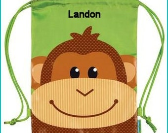Personalized Monkey, Toddler Backpack, Overnight,School Bag, Beach Bag, Accessories Bag, Camp Bag, Pre School Backpack, Drawstring Backpack