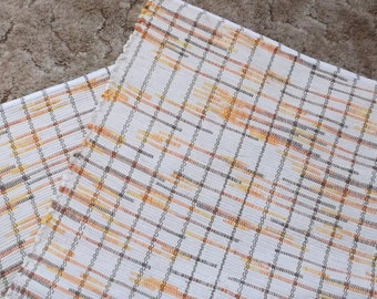 """46"""" x 27"""" Cream Brown Orange Bright Yelllow Hand Loomed Woven Rag Rug New U.S.A. Made Shipping Included"""
