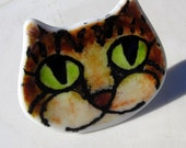 Fused Glass Smiling Happy Tabby Cat Face Night Light