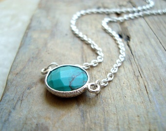 Turquoise Circle Necklace Sterling Silver Summer Jewelry, Silver Ocean Blue Boho Style December Birthstone, Mothers Day Gifts