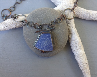 Beach-Combed Pottery Sterling Silver Necklace