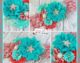 Dainty Mermaid Aqua and Coral Glamour Bloom Hair Flower clip headband