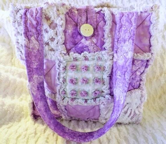 Rag Quilt Tote Vintage Chenille Purple Flowers Floral
