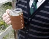 Leather Mason Jar Holster Coffee Cozy