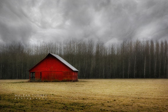 Red Barn Photography Country Landscape Print Farm Decor Old