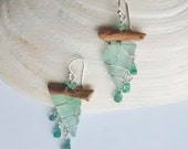 Teal and Apatite Drop Driftwood Earrings