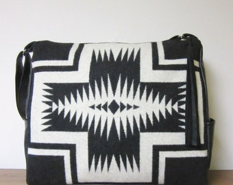 Wool and Black Leather Weekender Bag Extra Large Diaper Bag Travel Carry On Tribal Inspired Luggage
