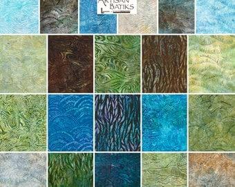 "SQ19 Lunn Studios Elementals Landscapes Batiks Precut 5"" Charm Pack Fabric Quilting Cotton Squares Robert Kaufman CHS-293-42"