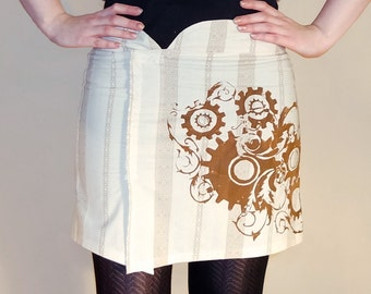 Beige steampunk skirt, steampunk print in brown, gear print skirt, clockwork skirt clockwork print, printed skirt, creme skirt, MASQ