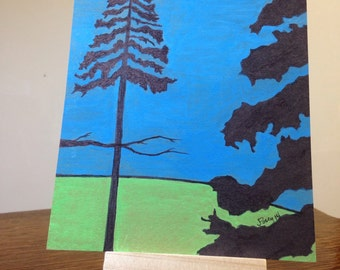 painting - Pine Trees Original art watercolor