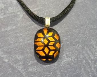 Brown and Black Pendant, Tiny Copper Brown Dichroic Necklace, Ready to Ship - Seymour- -5
