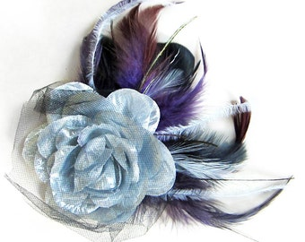 Stunning Silver Rose Hair Clip with Tulle plus Black Purple and White Feathers by Velvet Mechanism