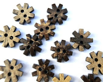 10 Buttons coconut shell buttons flower shape 13mm