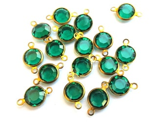 6 Vintage dangling beads Swarovski unique green crystal brass channel beads 1 LOOP made in Austria