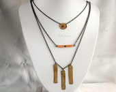 Tribal layered necklaces, set of 3, brass and Aventurine gemstone, orange and gold, cirle and bars, boho, MADE TO ORDER
