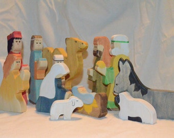 Wooden Nativity Play set Waldorf style