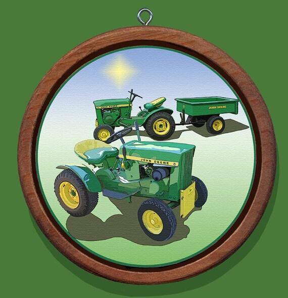 John Deere Tractor Wood Ornaments : John deere model lawn tractor redwood canvas christmas