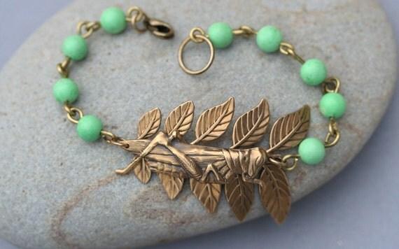 Grasshopper Bracelet  Grasshopper Jewelry Gardner's Bracelet Woodland Jewelry