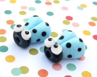 2 Glass Ladybug Beads - Lampwork Ladybug Beads - 14mm Ladybug Beads - Blue Ladybug - SRA Handmade Lampwork - N