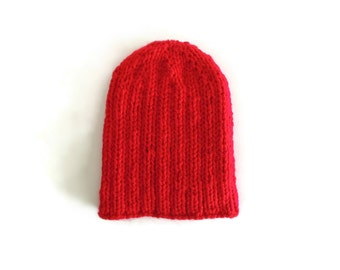 Slouchy Beanie Hat Knitted in Red Soft Wool Blend