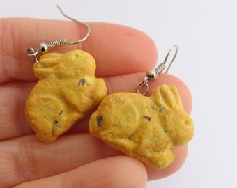 Annie's Bunny Cookie Earrings, Bunny Earrings, Annies, Food Earrings, Food Jewelry Chocolate Chip Cookies