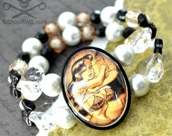 TITS MAGEE Pin Up- 30 X 40 Glass Cameo Stretch Bracelet