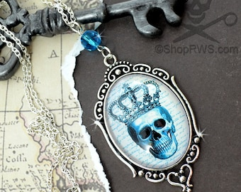 TEAL And SILVER SKULL- Cameo Glass Cabochon Necklace
