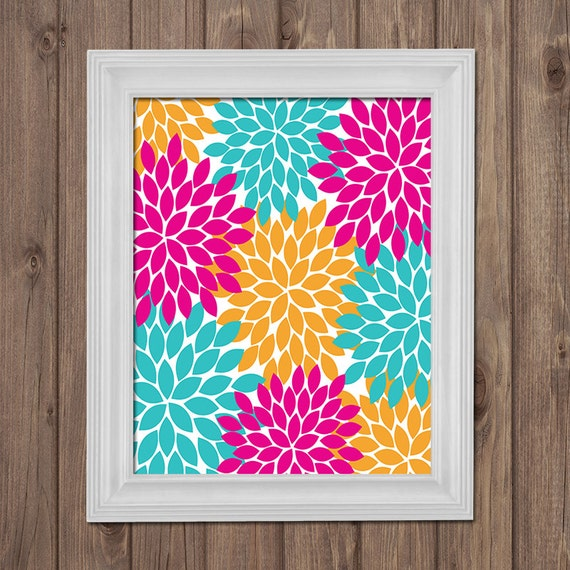 Flower Wall Art Canvas Or Print Kitchen Wall Art Bedroom: Items Similar To Hot Pink Turquoise Flower Wall Art