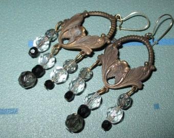 Vintage FAB Art Nouveau Floral Motif and Glass Bead Earrings
