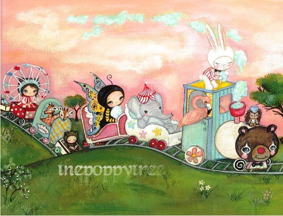 Carnival Print Train Art Pink Elephant Rabbit Giraffe Ferris Wheel Girl Wall Art---The Carnival Train 11 x 14 Large Print