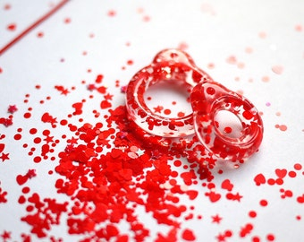 Twiggy Twiggy New Red Glitter Pull Ring  PR03-02