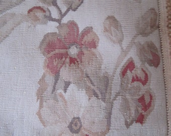 Vintage Aubusson Needlepoint Tapestry Subtle Colorway Old World French Style #2