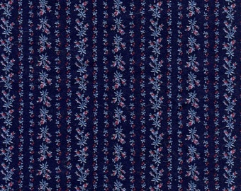 Vintage Cotton Fabric Navy Blue Cranberry Floral Stripe - 44 wide 2+ yards - Quilting / Crafts