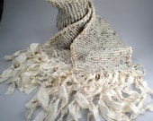 Knitted long scar with silk sari ribbon fringe