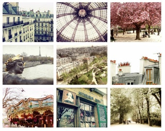 Paris wall art photography print set - nine photographs