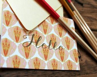 Set (10) Artichoke Pattern Folded Thank You Notecards / Corals / Shimmery Gold Envelopes