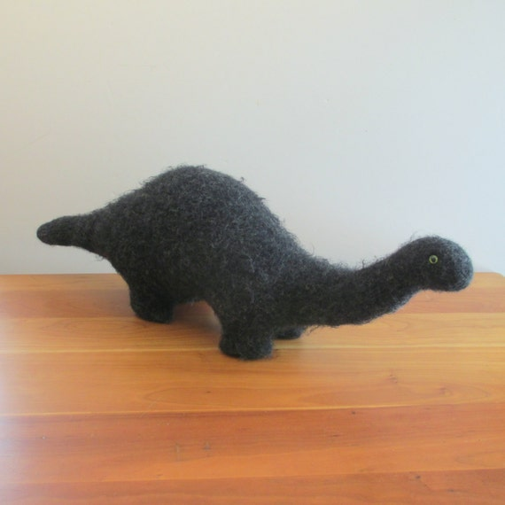 Stuffed Brontosaurus Plush Toy Dinosaur Handknit By