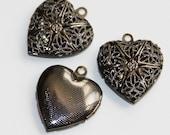 20 pcs of Gunmetal filigree Heart Locket Pendant 20x20mm, puff heart locket, texture back , locket pendant, filigree pendant