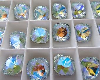 4 Light Azore Glacier Blue Swarovski Crystal Square Cushion Cut Stone 4470 12mm