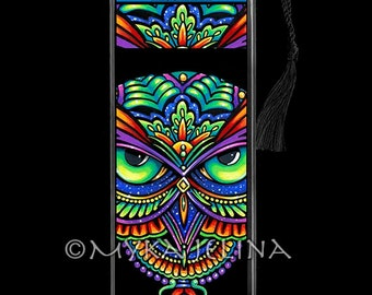Psychedelic Rainbow Owl Trippy Hippie Owleister BOOKMARK