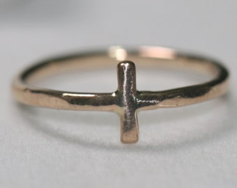 Very Small Gold Cross Ring, Cross Pinky Ring, Size 2.5 Ring, Rustic Cross Ring, Sideways Cross Ring, Faith Jewerly by Maggie McMane Designs