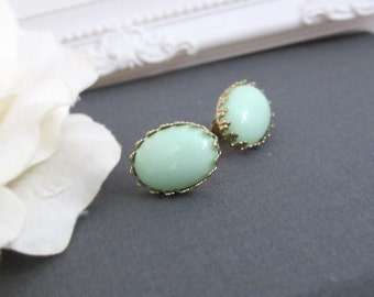 Mint Green Earring Studs. 18K Gold plated Lace Post Oval Stud Earrings. Wedding Jewelry Bridal Earrings, Bridesmaid Gift