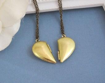 Best of friend Friendship Love - A Pair of Half Heart brass locket Necklaces. Valentines Day Gift. Trinket locket, photo locket
