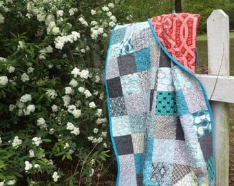 Scrappy Teal and Gray Quilt for a Boy